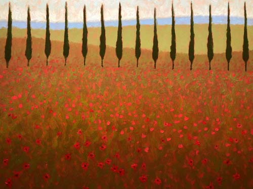 POPPIES AND CYPRESS